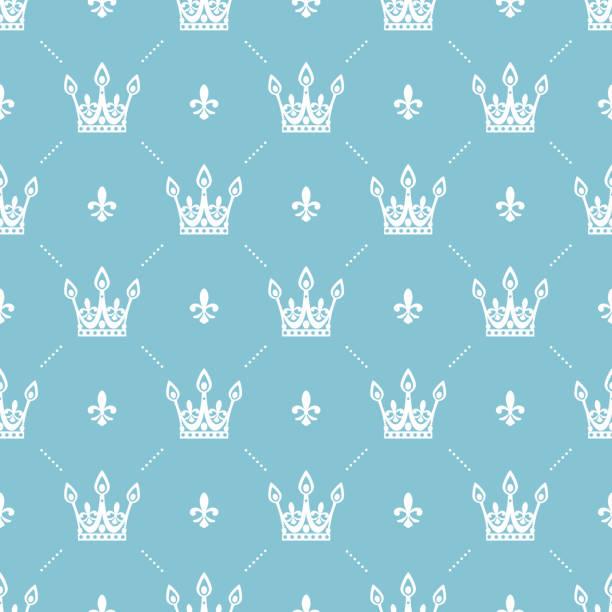 nahtlose muster im retro-stil mit einer weißen krone auf türkis hintergrund. einsetzbar für tapete, musterfüllungen, web-seitenhintergrund, oberflächenstrukturen. vektor-illustration. - prince stock-grafiken, -clipart, -cartoons und -symbole