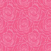 beautiful seamless pattern in roses with contours. Hand-drawn contour lines and strokes. Perfect for background greeting cards and invitations of the wedding, birthday, Valentine's Day