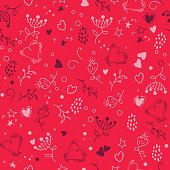 Seamless pattern in the doodle style with heart, flower, dots. Pattern for fashion. The template for the cover fabric, books. Modern design for the fabric. red. abstract background wallpaper.