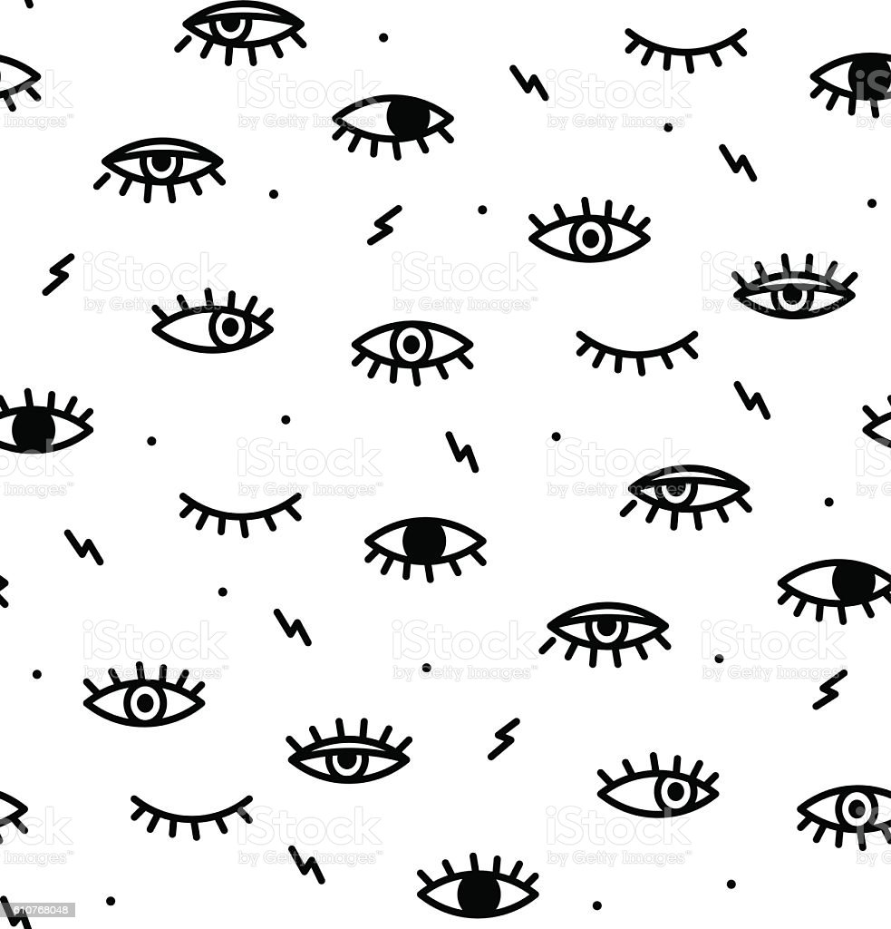 Seamless pattern in the style of psychedelic eyes. vector art illustration