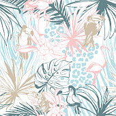 Seamless pattern of ink Hand drawn sketch Tropical palm leaves toucan flamingo bird, leopard zebra skin. Greeting card, invitation summer beach party, flyer. Vector illustration. Grunge design style