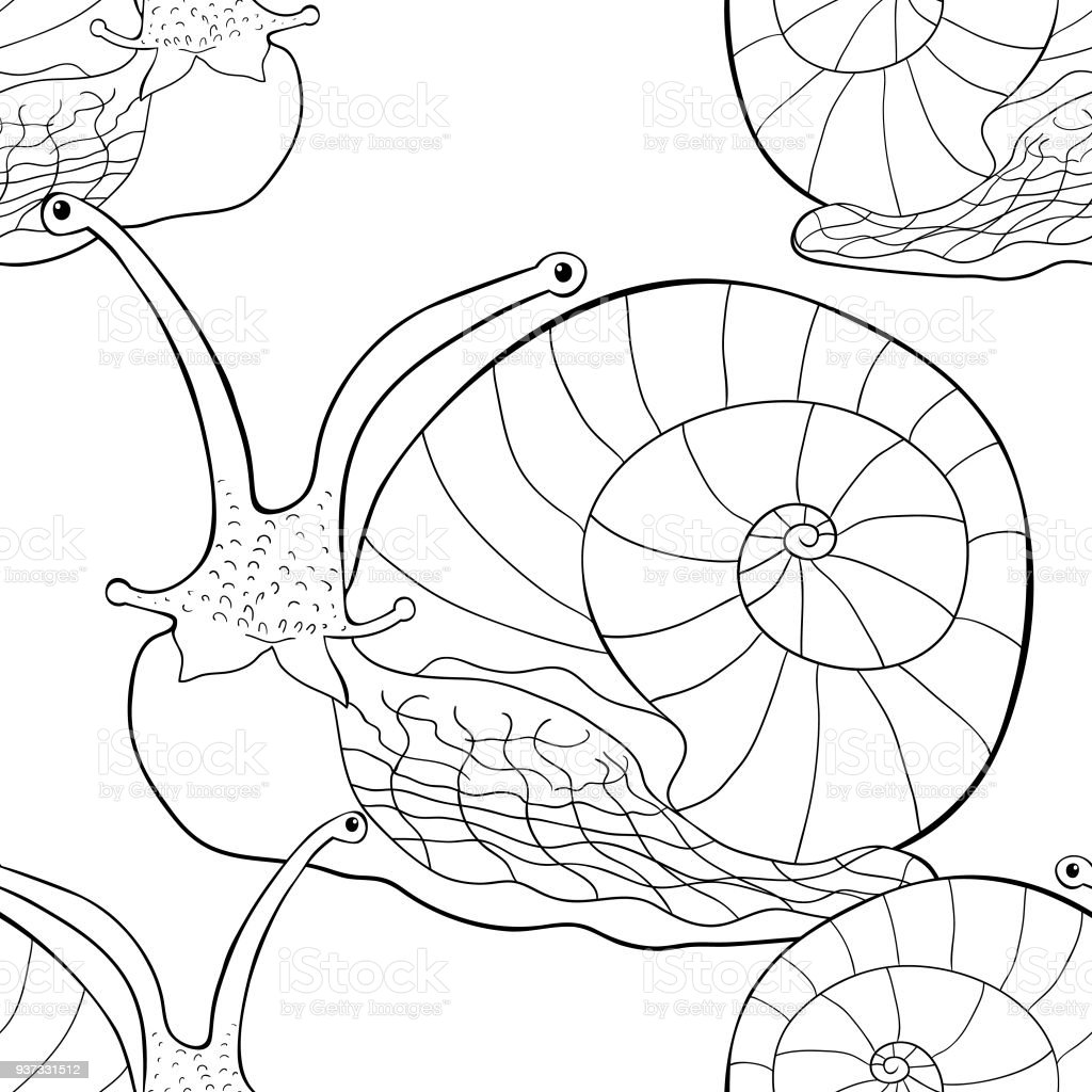 seamless pattern insect snail gastropod mollusk vector illustration