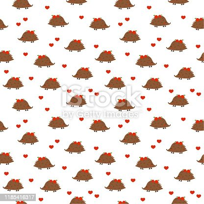 Seamless pattern:  Isolated cute hedgehogs with apples and hearts on a white background. flat vector. illustration