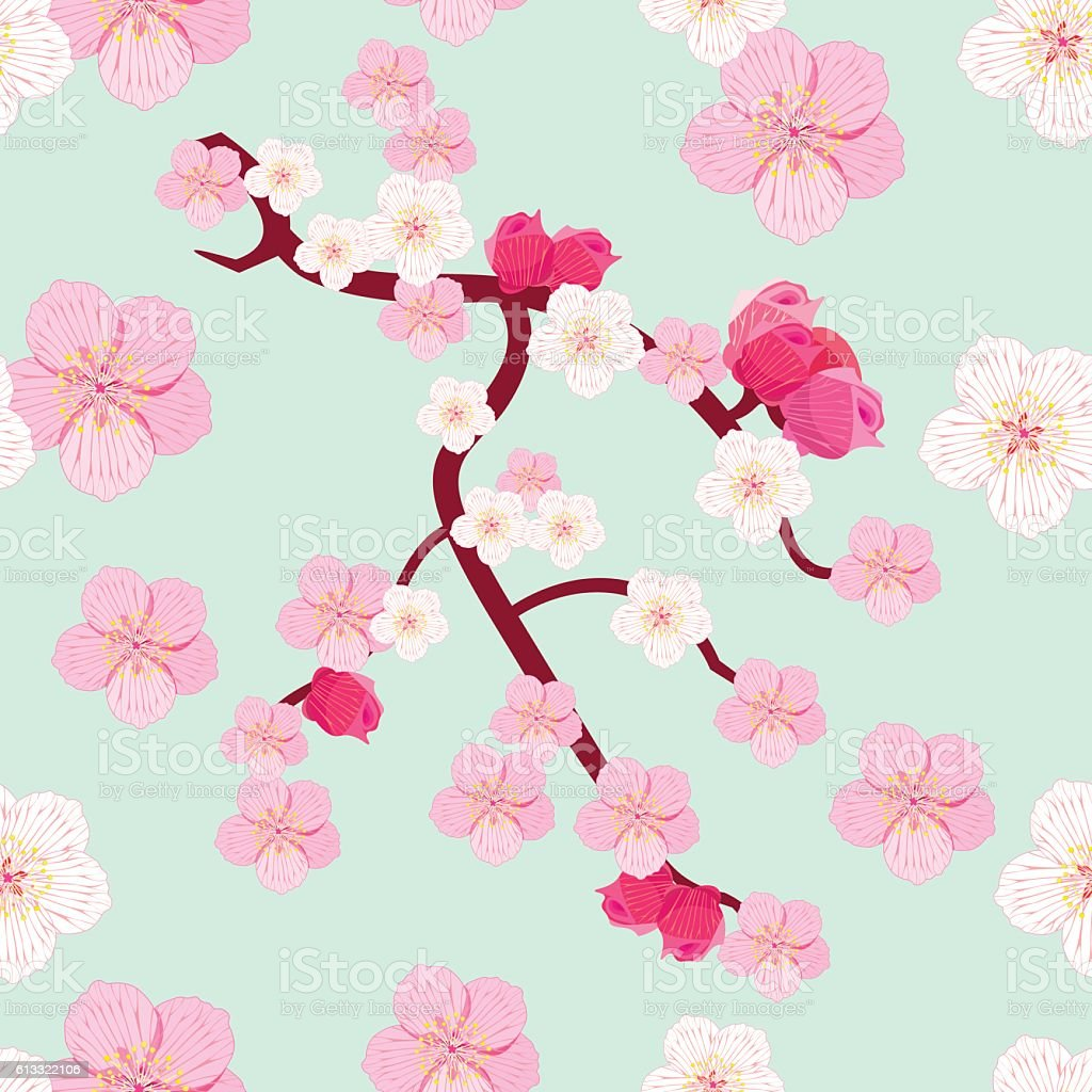 seamless pattern Japan flowering cherry tree branch in bud vector art illustration
