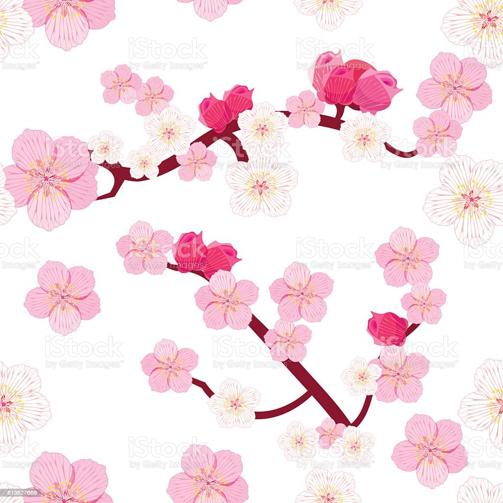 seamless pattern Japan flowering cherry tree branches with buds. vector art illustration