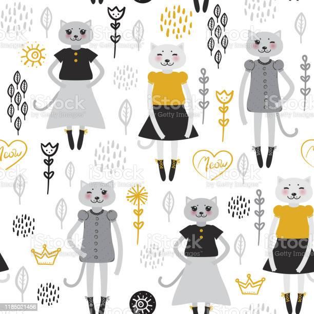 Seamless pattern kawaii cat girl in dress cartoon pet black mustard vector id1185021456?b=1&k=6&m=1185021456&s=612x612&h=njwidfbt9p3v hzw42 vg1wfbiu7fypv97kzarkx6fc=