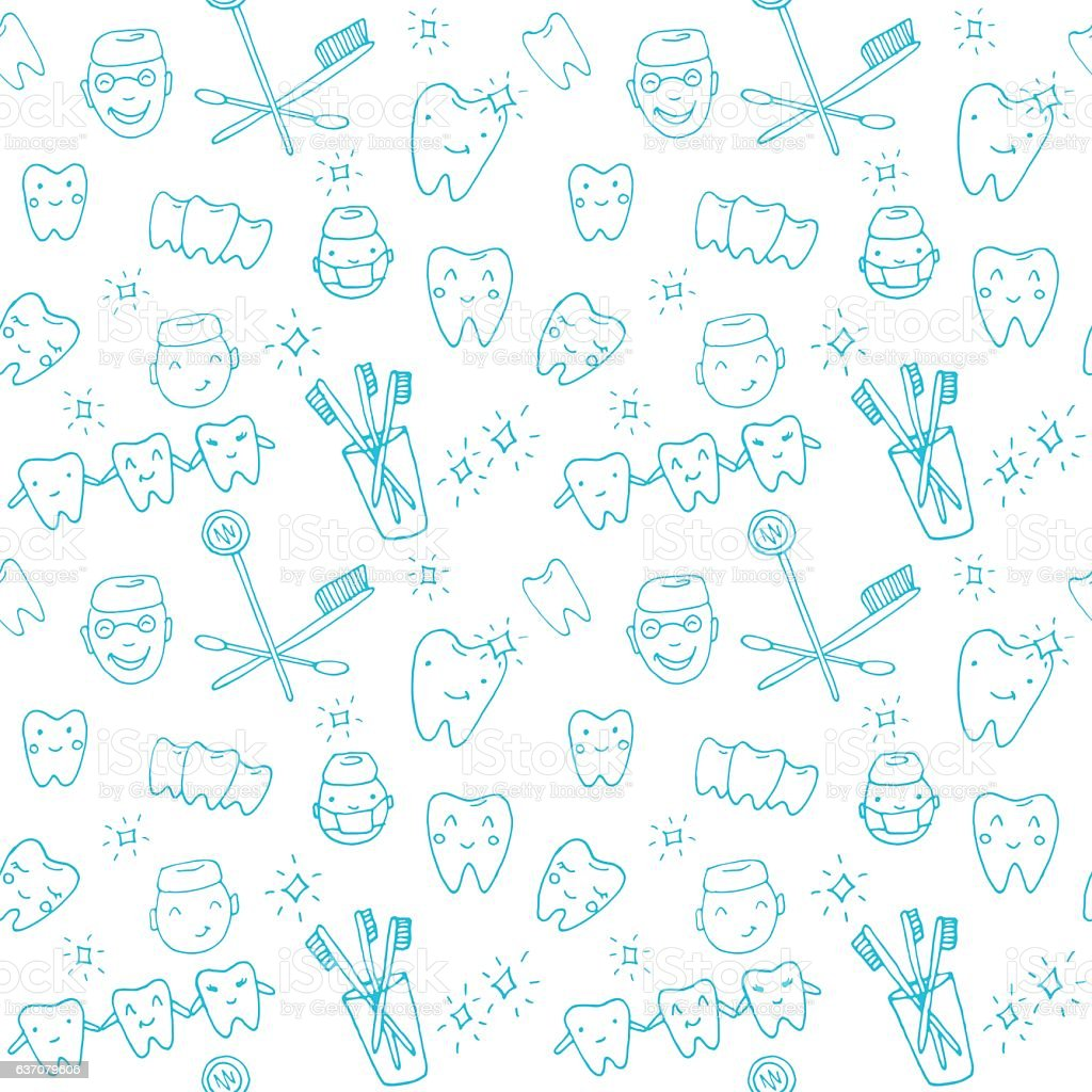 Seamless pattern kawaii dentist with teeth, toothbrush, smile, dental tools vector art illustration