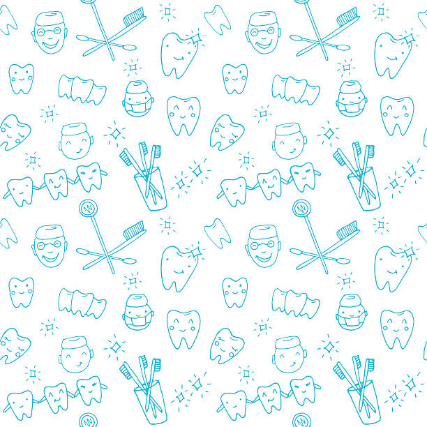 illustrazioni stock, clip art, cartoni animati e icone di tendenza di seamless pattern kawaii dentist with teeth, toothbrush, smile, dental tools - denti