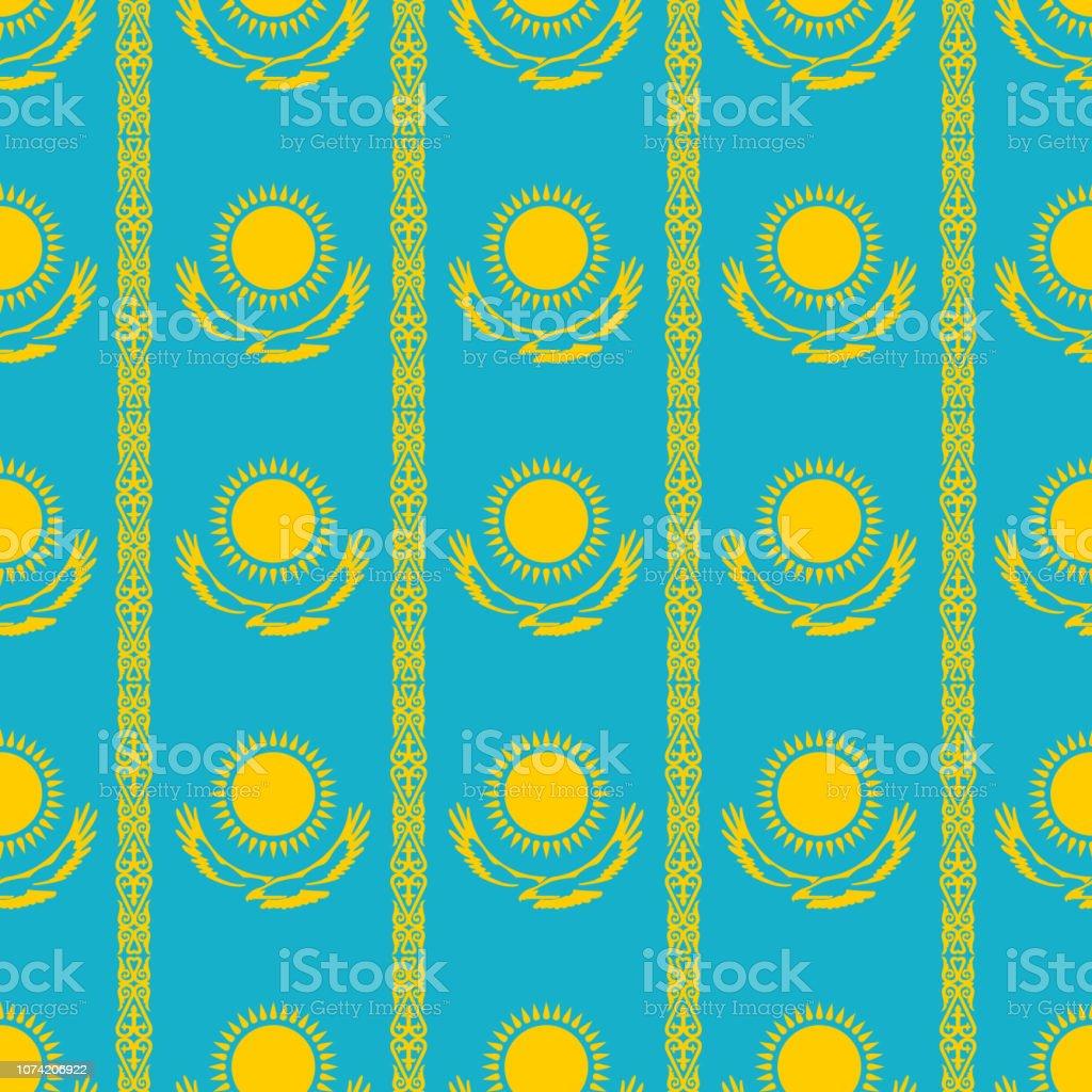 Seamless pattern. Kazakhstan official colors background. Banner or poster of Kazakhstan independence day celebration. Vector illustration design of Kazakhstan flag vector art illustration