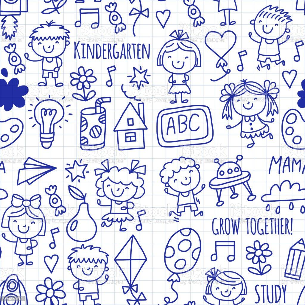 Nahtlose Muster Kinder Zeichnung Kindergarten Schule Glückliche