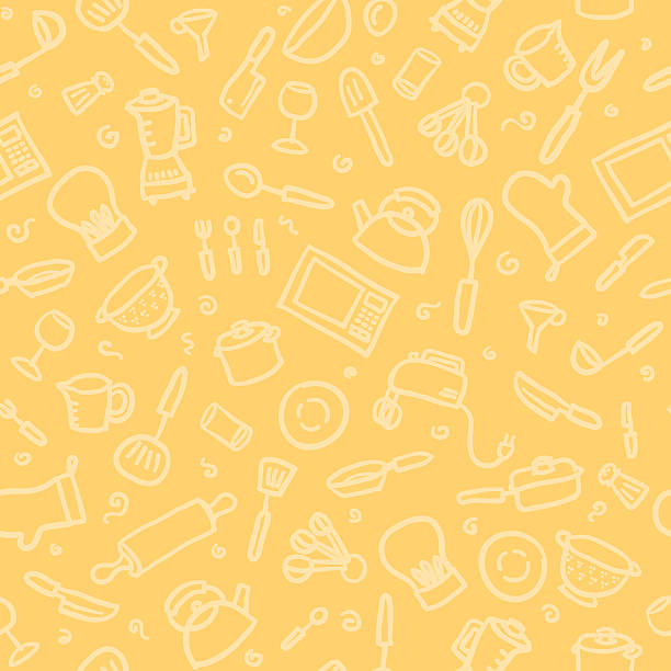 seamless pattern: kitchen vector art illustration