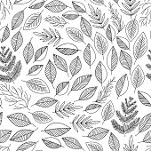 Natural seamless pattern with floral elements. Hand drawn line art black and white leafs, branches. Vector illustration.