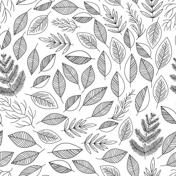 Seamless pattern leafs vector vector art illustration