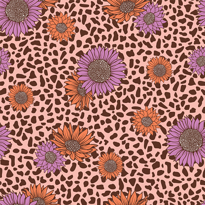 Seamless pattern leopard animal abstract geometric with pink coral sunflower print pattern design