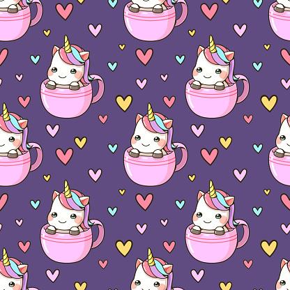 Seamless pattern little unicorn in a cup of coffee cartoon