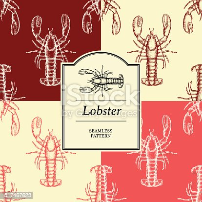 Seamless Pattern -Lobster. ( 4 tiles, label, illustration, color and background are all isolated on separate layers to enable quick change to be made to all the pattern elements)