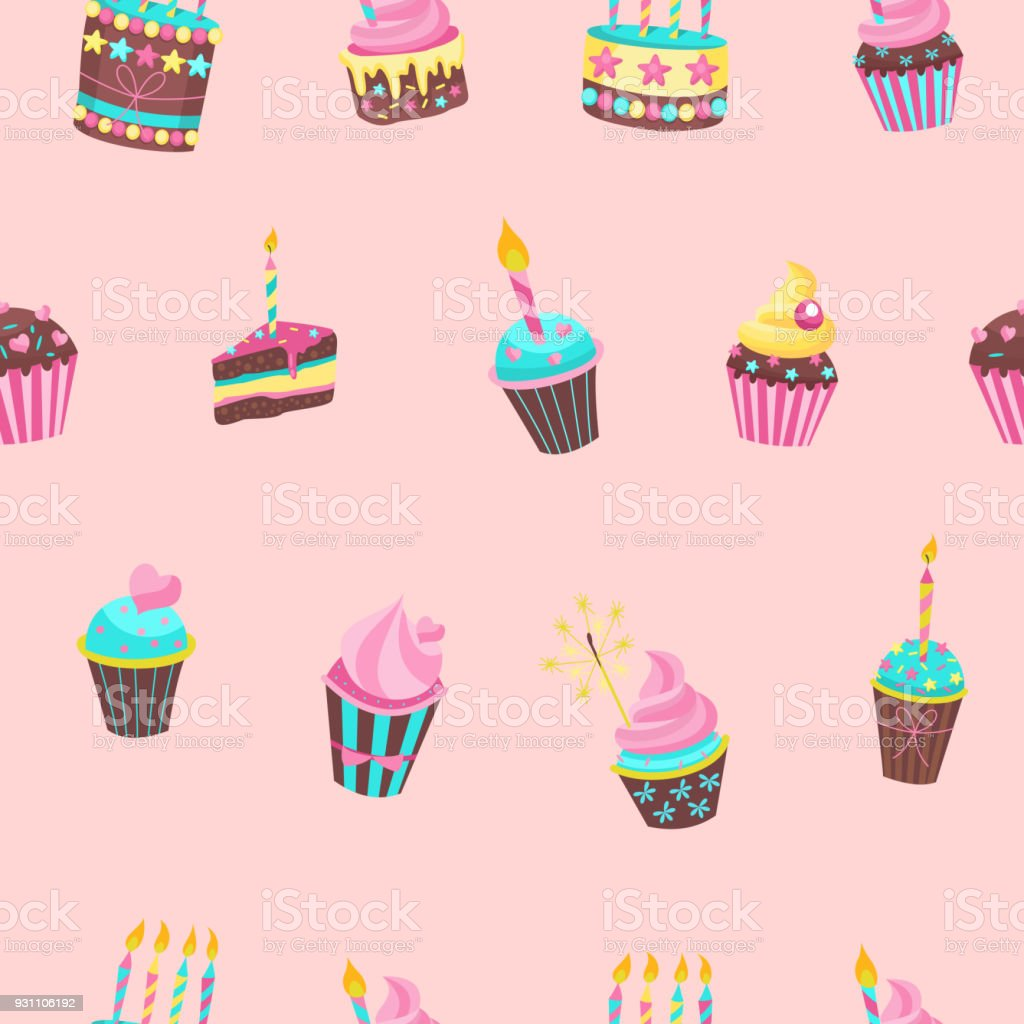 Seamless Pattern Lovely Birthday Cakes With Candles For Printing On