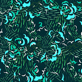 istock Seamless pattern made of abstract brush strokes. Curved wavy shapes forming floral botanical texture. Good for fabric, textile, fashion design. 1262152400
