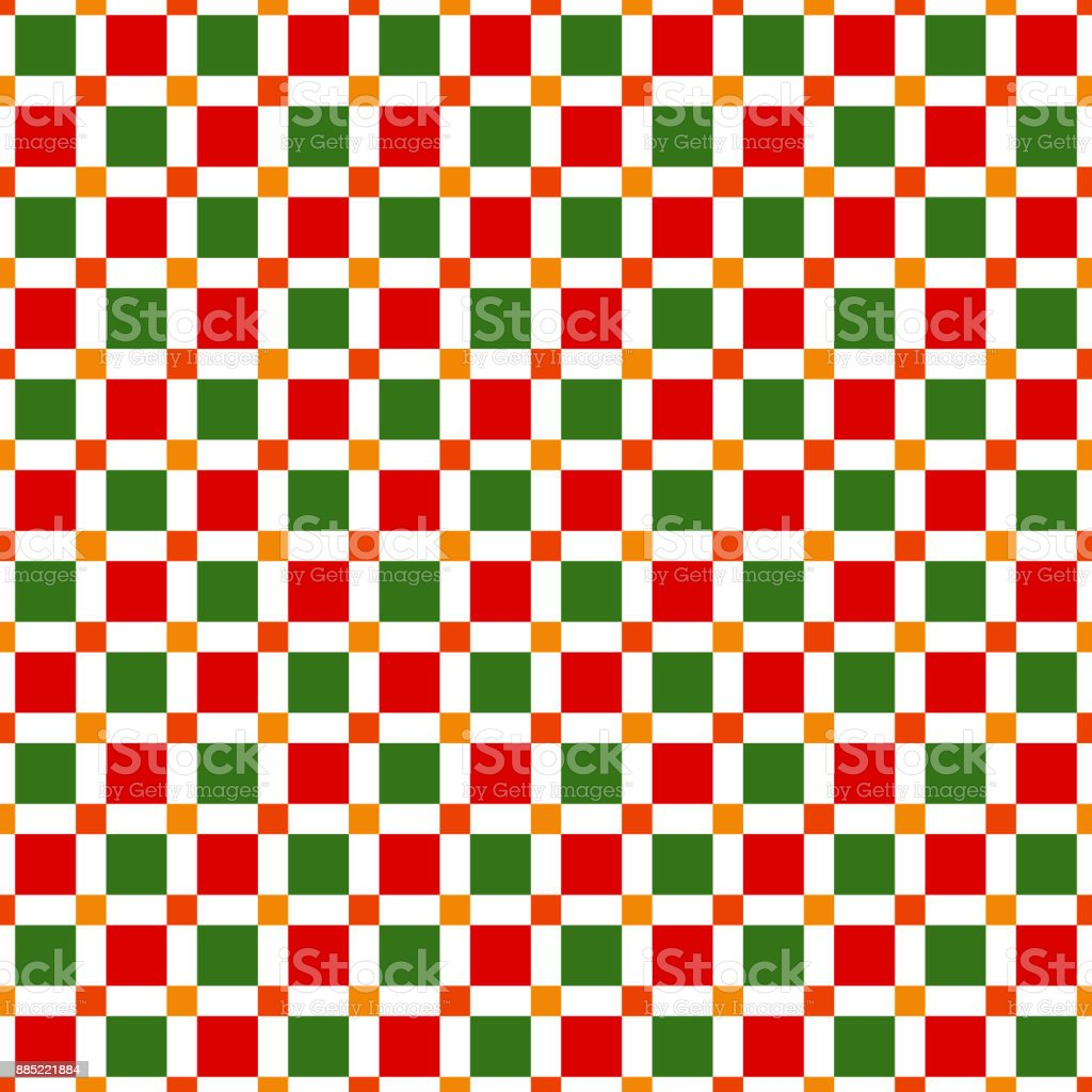 Seamless pattern made of colorful squres in festive christmas colors vector art illustration