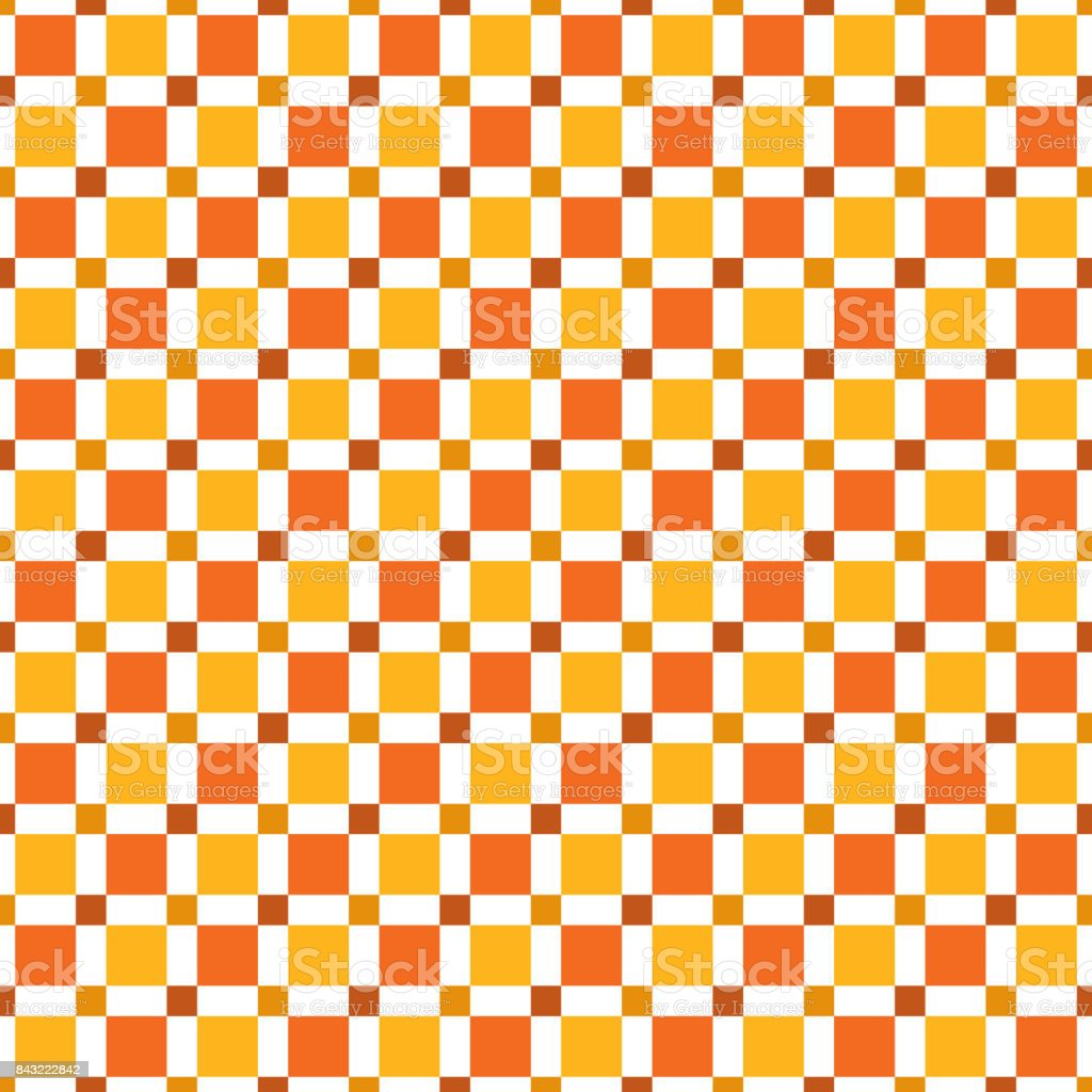 Seamless pattern made of colorful squres - red, orange, dark tan on white background vector art illustration