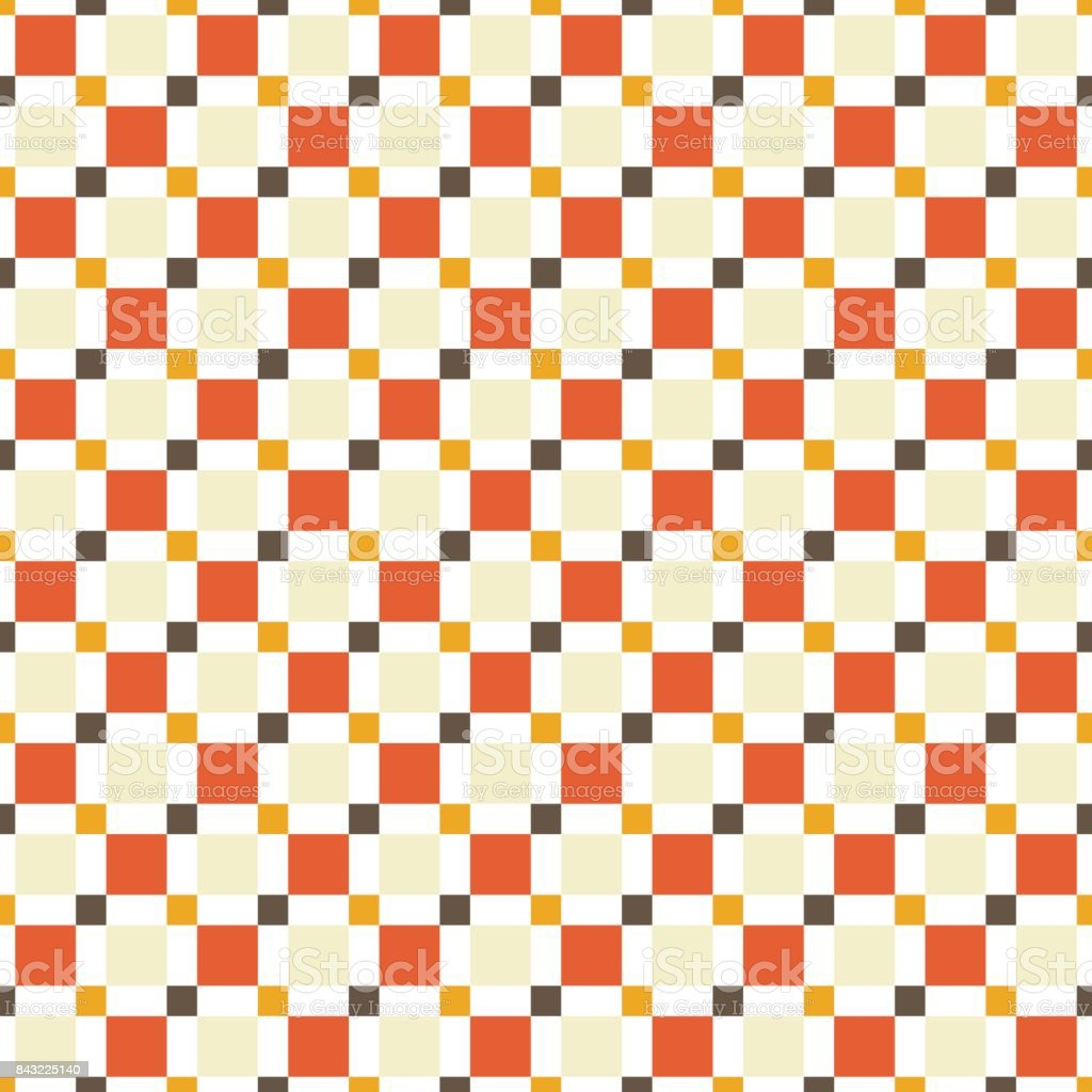 Seamless pattern made of colorful squres - tan, orange, red and brown on white background vector art illustration