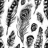 Seamless pattern made of feathers
