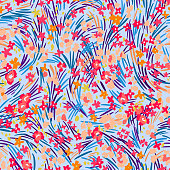 Seamless pattern made of flat small daisies in bloom. Bright nature botanical ornament. Colorful wavy dashed lines forming meadow grass and herbs texture. Abstract floral background.
