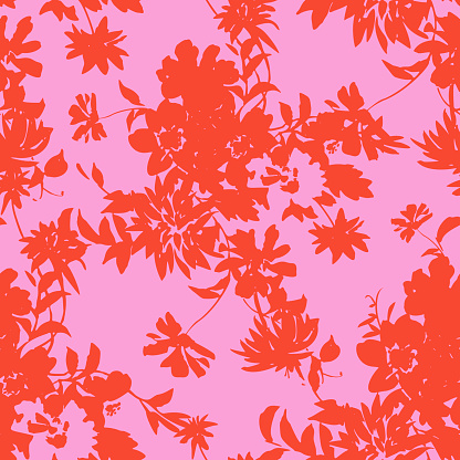 seamless pattern made of flowers silhouettes