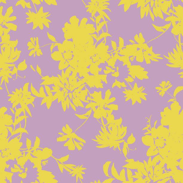 ilustrações de stock, clip art, desenhos animados e ícones de seamless pattern made of flowers silhouettes - natureza close up