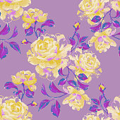 Floral seamless pattern made of gorgeous large roses. Acrylic painting with flower buds and leaves. Botanical illustration for fabric, textile, wallpaper and surface.