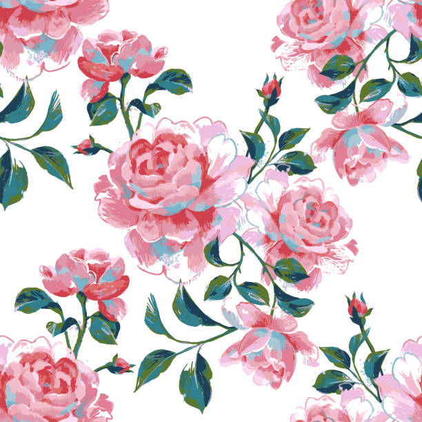 seamless pattern made of large roses Floral seamless pattern made of gorgeous large roses. Acrylic painting with flower buds and leaves isolated on white. Botanical illustration for fabric, textile, wallpaper and surface. acrylic painting stock illustrations