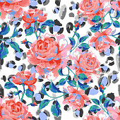 Floral seamless pattern made of blooming large roses. Acrylic painting with flower buds and leaves on leopard skin background. Mix of animal fur texture and botanical ornament.