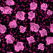 Seamless pattern made of roses buds with petals scattered. Flat cut out paper style. Floral collage. Summer botanical background in modern manner. Nature motif for textile and fabric texture.