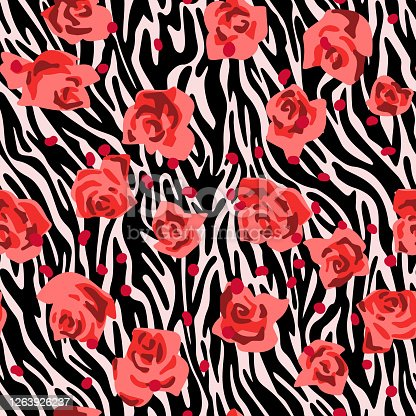 Seamless pattern made of roses buds with zebra stripes skin background. Cut out paper collage style. Mixed print. Summer botanical background. Nature motif for textile and fabric texture.