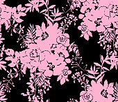 Roses silhouettes. Seamless pattern made of bouquet of roses, garden flowers and herbs. Vintage style. Flat design for fashion, textile, fabric, clothes, dress, wallpaper, wrapper.