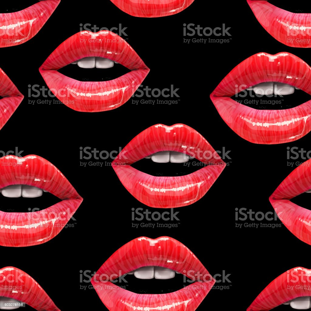 Seamless pattern made of sexy lips vector art illustration