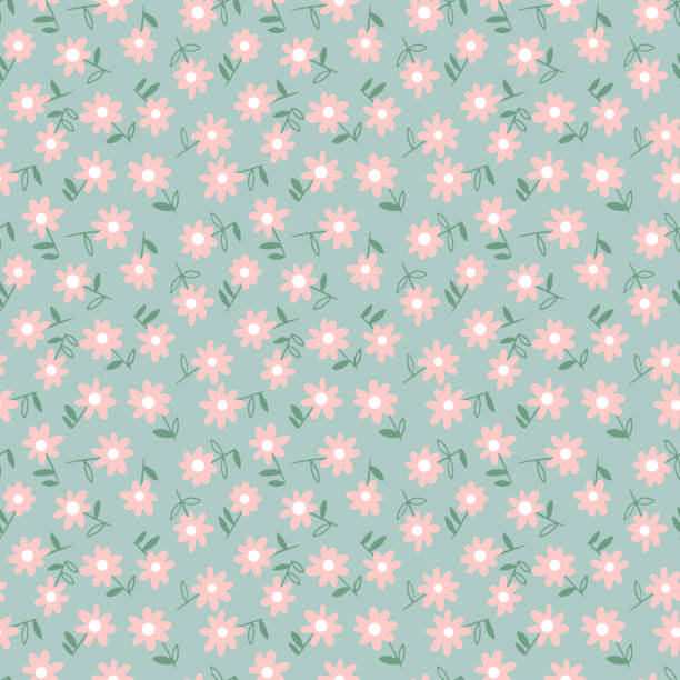 Seamless pattern made of small daisy flowers. Ditsy meadow ornament. Floral summer background. Vector botanical seamless pattern. Small daisies. Flowers in vintage style. Flat Simple floral freehand background for fashion design, textile, fabric, background, wallpaper, surface or wrapping. floral and decorative background stock illustrations