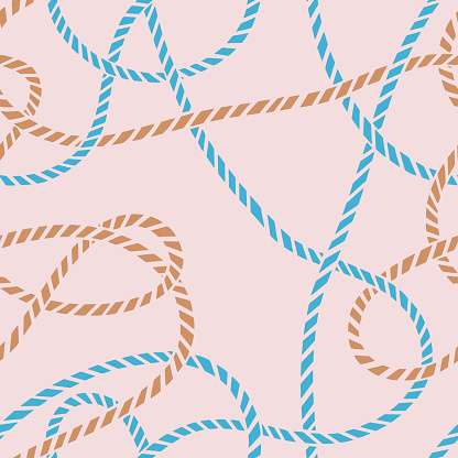 Seamless pattern made of twisted curved rope.