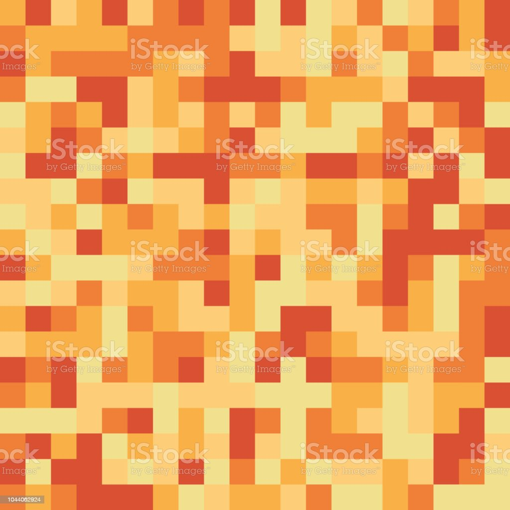 シームレス パターン製 - 黄色とオレンジ色の正方形要素のピクセル蜂蜜のような質感 ベクターアートイラスト