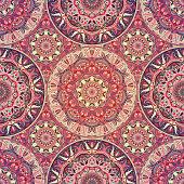 Seamless pattern mandala ornament. Vintage decorative elements. Hand drawn oriental background