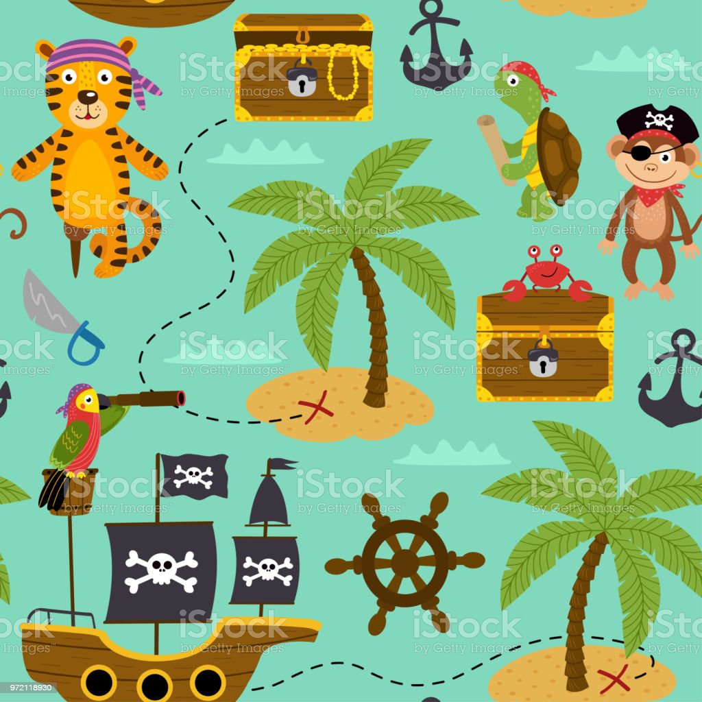 seamless pattern map of treasures with pirates animals vector art illustration