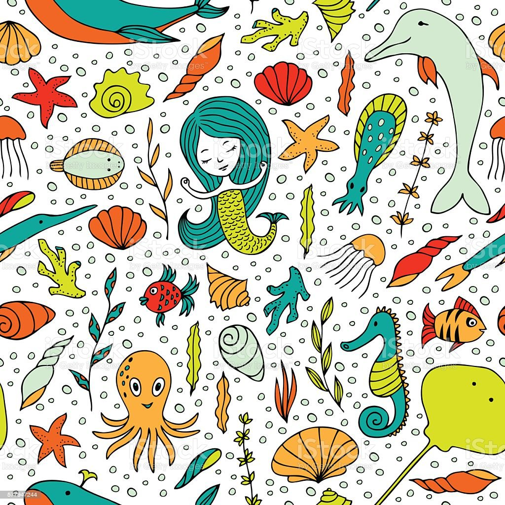Seamless pattern marine life. vector art illustration