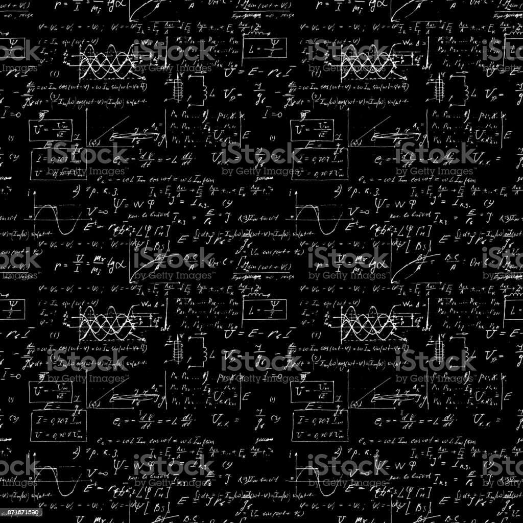 Seamless Pattern Mathematical Operations And Elementary Functions Endless Arithmetic Black Background Real Handwritten