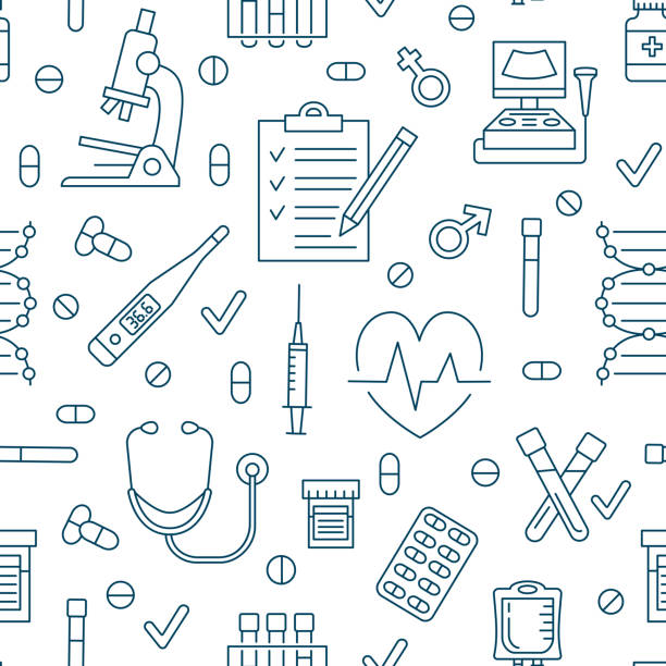 Seamless pattern medical icons, clinic vector illustration. Hospital thin line icon - thermometer, check up, diagnostic, microscope, stethoscope. Cute repeated texture for business presentation Seamless pattern medical icons, clinic vector illustration. Hospital thin line signs - thermometer, check up, diagnostic, microscope, stethoscope. Cute repeated texture for business presentation. dna test stock illustrations