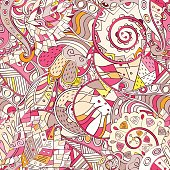 Seamless pattern. Mehendi design. Colorful doodle texture. Curved doodling. Vector.