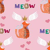 Seamless pattern Meow- handdrawn lettering . Cute cat.  Funny cartoon  poster with lettering composition for girls, fashion t shirt.Vector illustration.