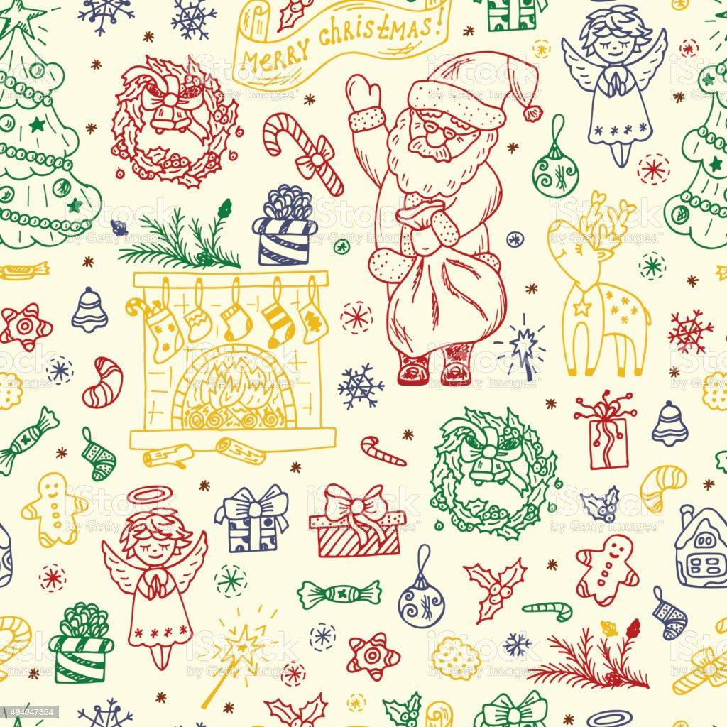 Decorazioni Di Natale Disegni.Pattern Senza Bordi Buon Natale Disegno A Mano E Schizzi Di