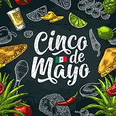 Seamless pattern mexican food and Cinco de Mayo handwriting lettering. Glass tequila, tacos nachos, and vegetables. Vector color vintage engraving illustration for menu. Isolated on dark background