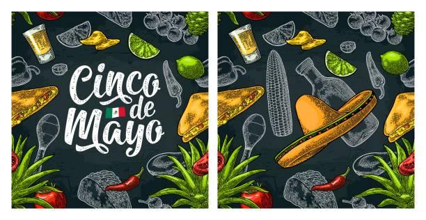 nahtlose muster mexikanisches essen und cinco de mayo-handschrift-schriftzug. - tortillas stock-grafiken, -clipart, -cartoons und -symbole