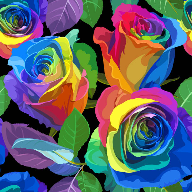 Seamless Pattern - Multicolored Roses on White Background. vector art illustration